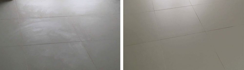 Cream Porcelain Tiles Before After Epoxy Grout Removal Banbury