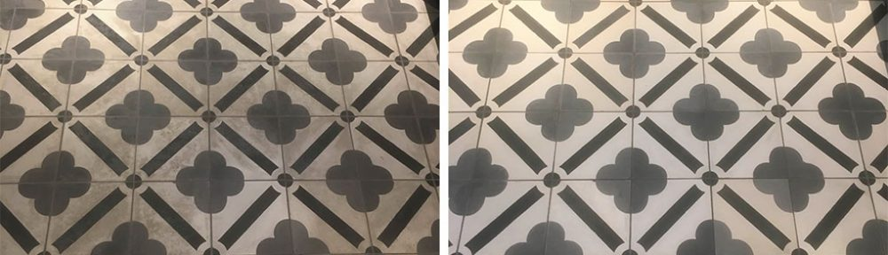 Encaustic Cement Tile and Grout Before After Cleaning Chipping Norton