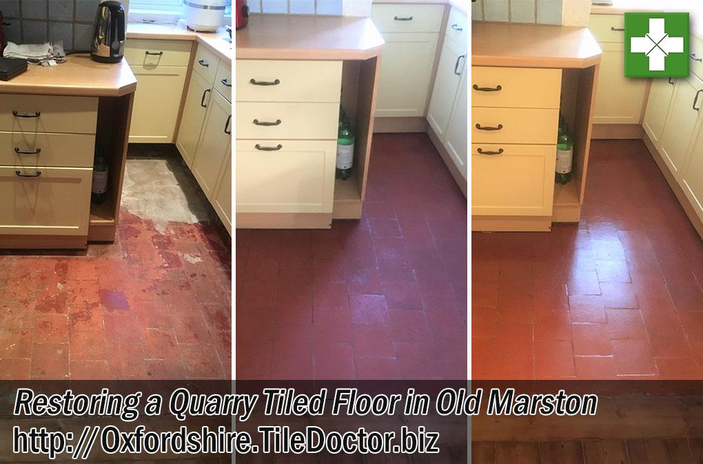 Quarry Tiled Kitchen Floor Restored in Old Marston
