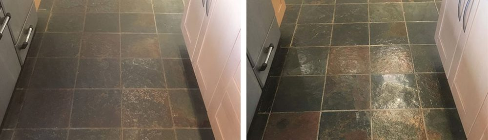 Revealing Copper Tones in a Coloured Slate Kitchen Floor in Abingdon