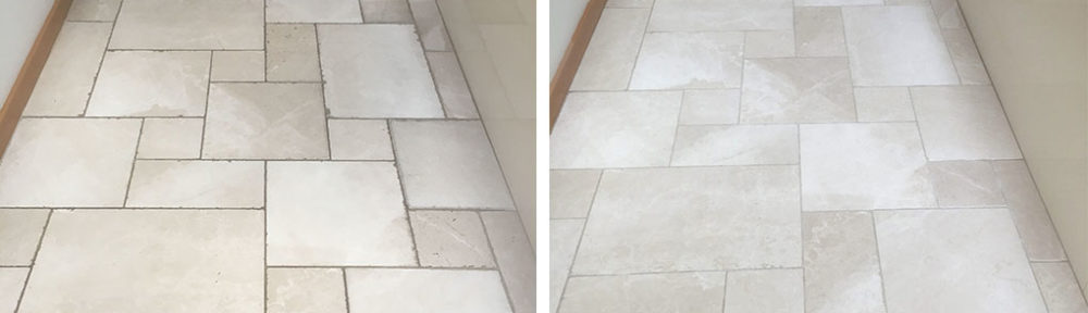 Tumbled Marble Floor Honed and Sealed in Oxford