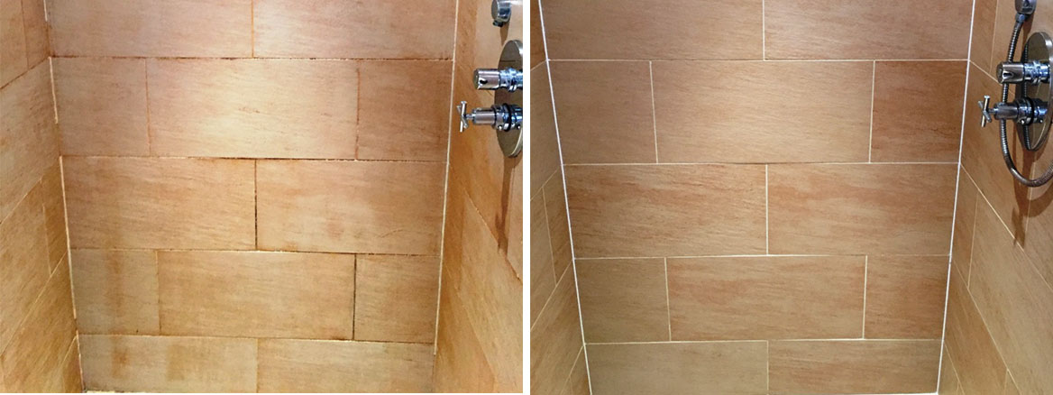 Mould-Covered Porcelain Shower Tiles Refreshed in Didcot