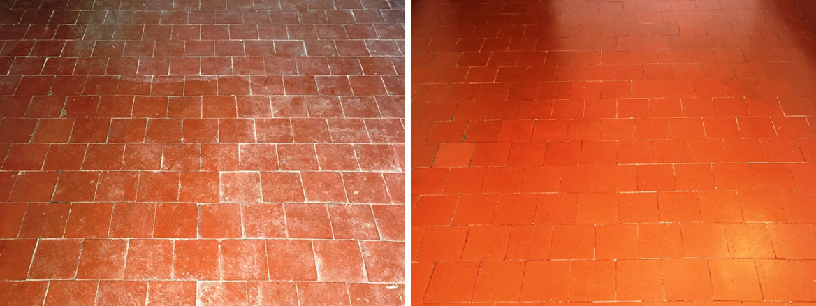Quarry Tiled Floor Banbury Before After Cleaning