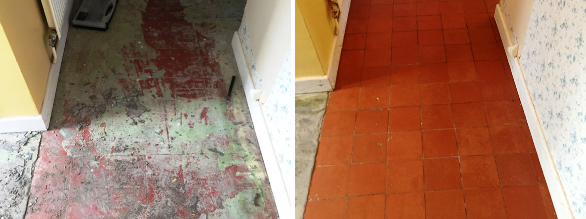Heavily Stained Quarry Tiled Floors Restored in Oxford Shop Conversion