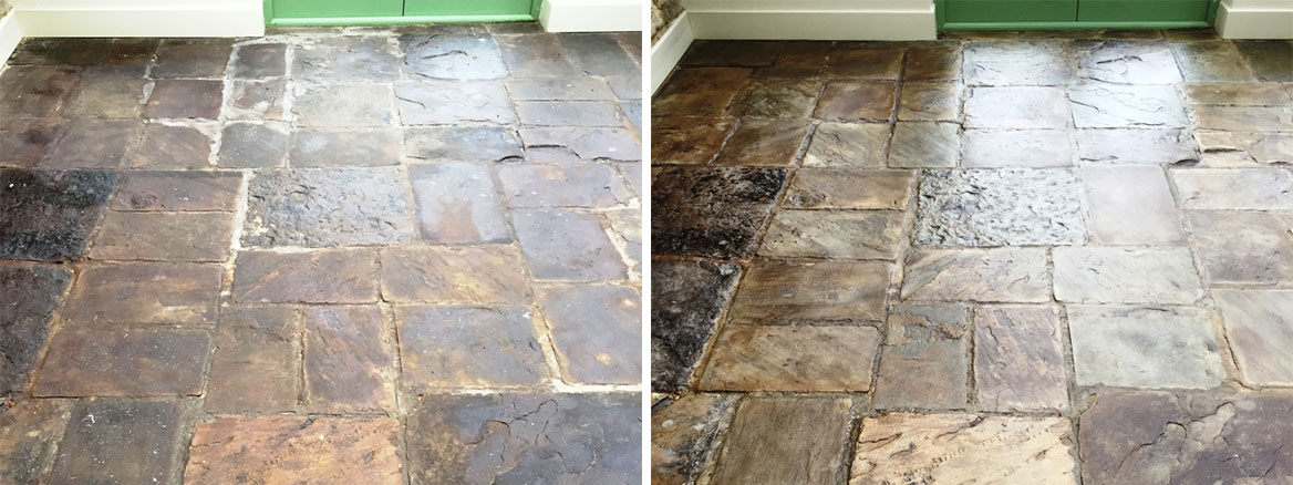 Slate Tiled Conservatory Floor Covered in Sticky Oil Residue Restored in Bicester