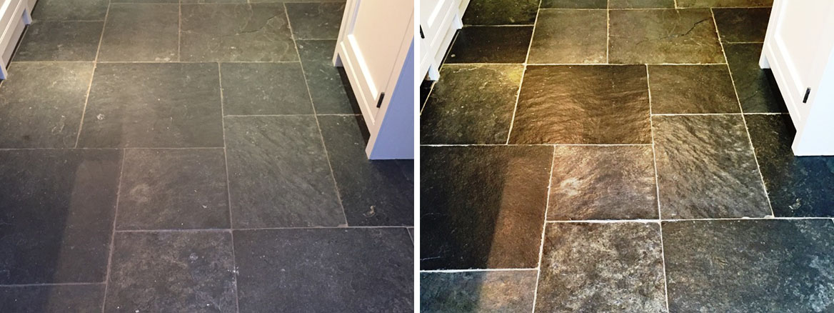Dull Slate Tiled Kitchen Floor Restored In Henley-On-Thames