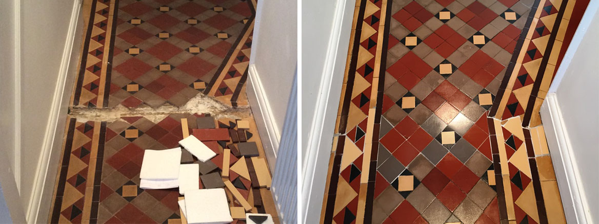 Victorian Tiled Floor with Gas Pipe Trench Repaired and Restored in Oxford