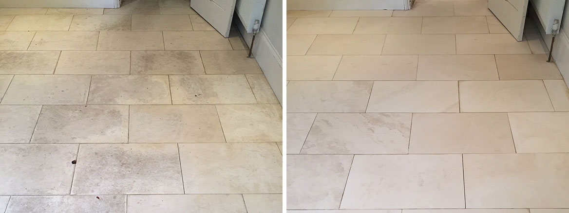 Dirty White Limestone Tiled Kitchen Floor Cleaned in Wallingford