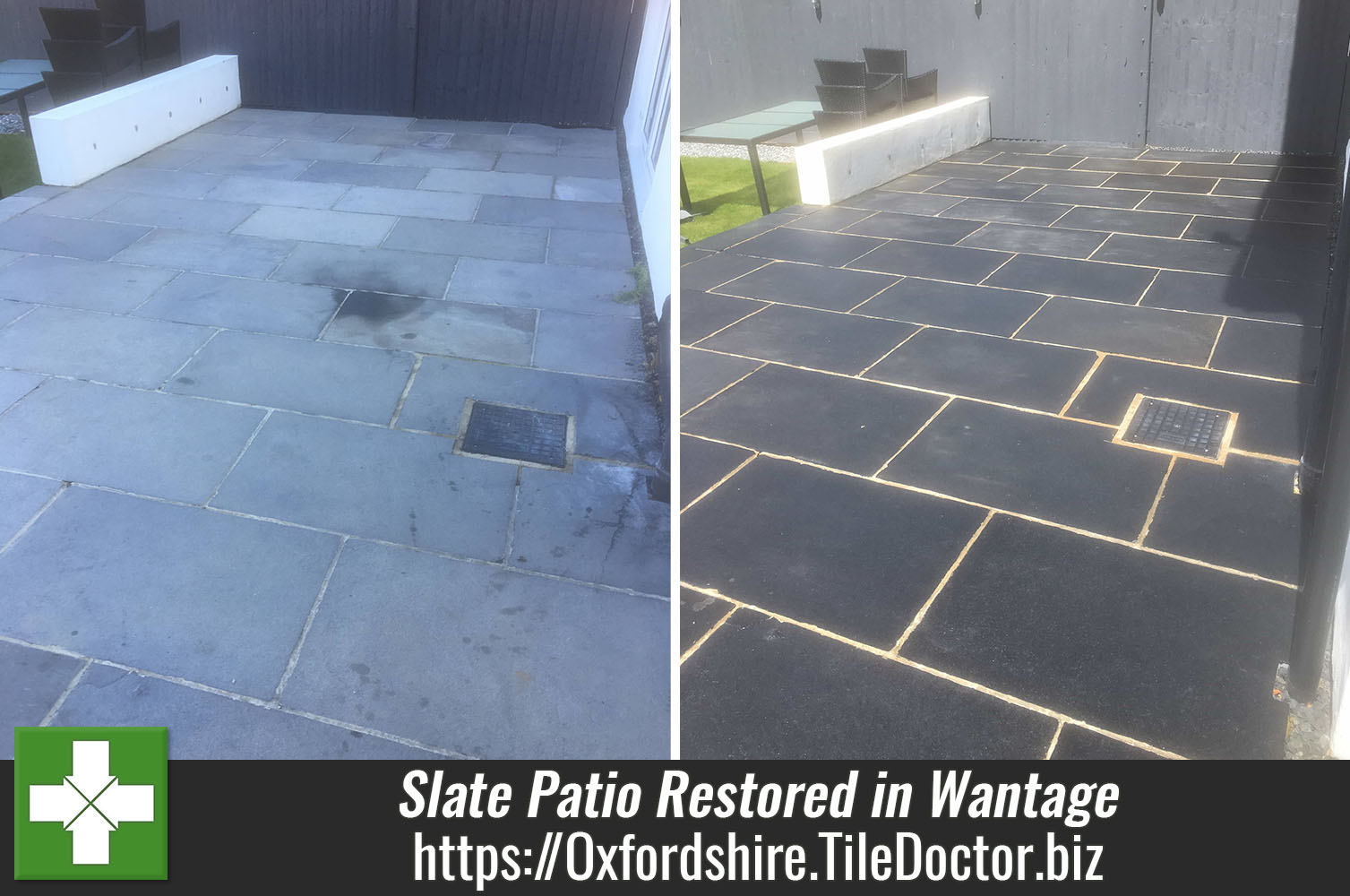 Large Slate Patio Renovated in Wantage