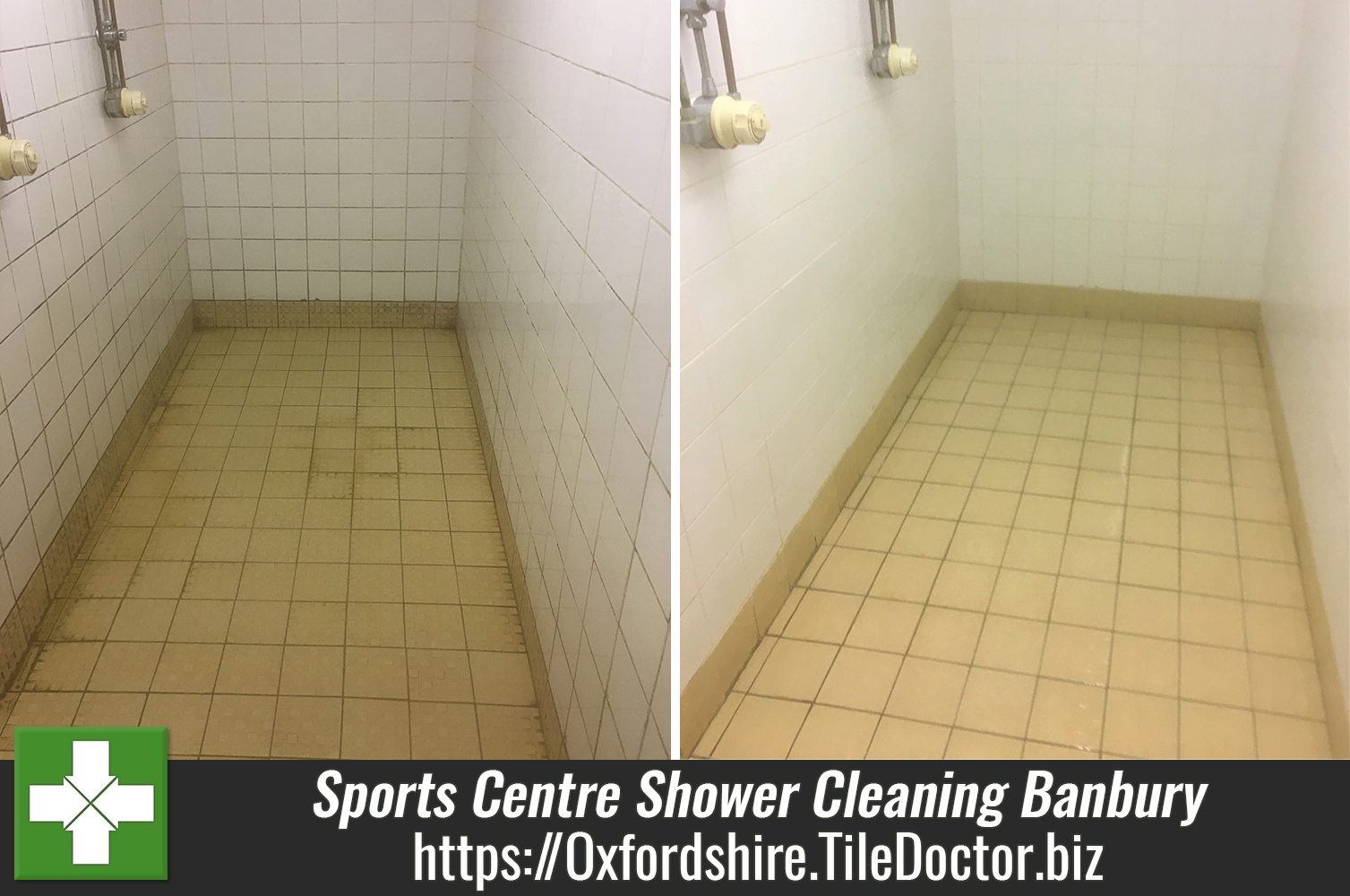 Ceramic Tiled Sports Centre Ceramic Shower Tile Banbury Before after Cleaning