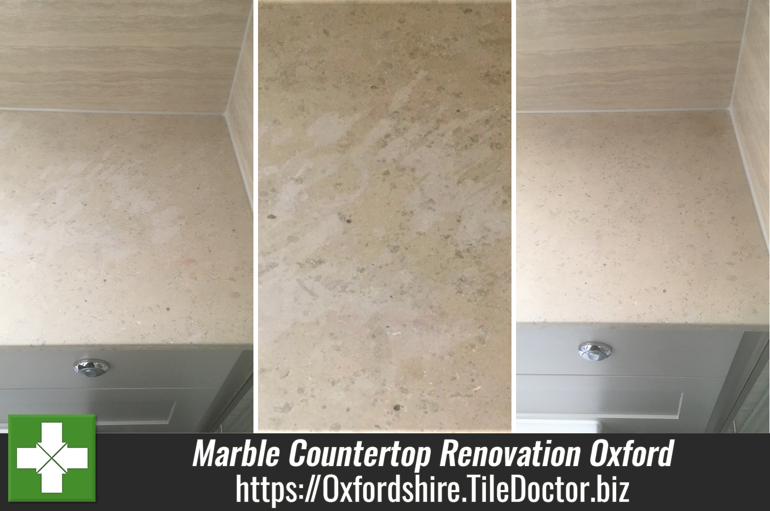 Restoring a Damaged Marble Vanity Countertop in Oxford