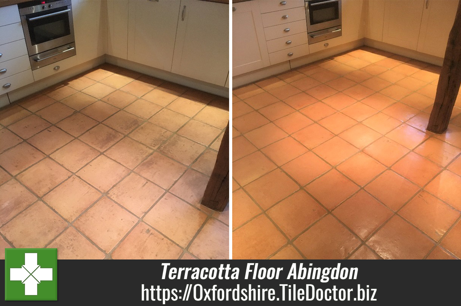 Terracotta Floor Before After Cleaning in Abingdon