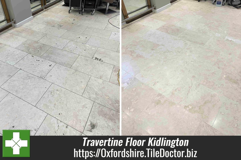 Pitted Travertine Tiled Floor Restored at Kidlington Hair Salon